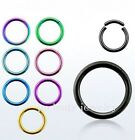 "1pc. 16g~1/4"" to 1/2"" Anodized 316L Segment Ring Earing, Septum, Lip & Nose ring"