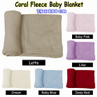 Ultra Soft Baby Coral Fleece Throw Rug Blanket - Latte Pink Lilac Cream Blue Red