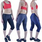Womens Leggings 3/4 Capri Yoga Gym Ladies Fitness Running Active Exercise Sports
