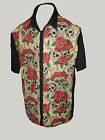 C-unique Cream Skulls & Roses rockabilly 50s lounge diner shirt goth psychobilly