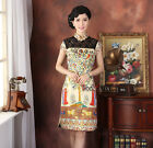 gold Sexy Chinese  women's Style Evening Dress/Cheong-sam6-18
