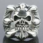 SZ 8-13 Punk Stainless Steel Skull Skeleton Hawk Claw Men's Finger Ring Jewelry