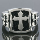 Size 7-12 Punk Biker Stainless Steel Iron Cross Sword Shield Men's Finger Ring