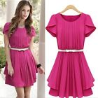 Women's Solid Round Collar Pleated Lotus Leaf Short Sleeve Chiffon Tea Dress