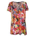 Marina Kaneva Plus Size Womens Short Sleeve Floral Print Scoop Neck Tunic Top