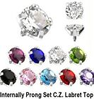 1pc. 16G~3mm & 4mm Steel Threaded Prong Set Round CZ Gem Internal Labret Top