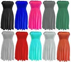 New Women Boobtube Ladies Sheering Strapless Style Girls Mini Dress Size S/M M/L