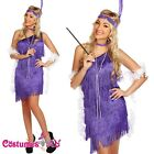 Purple 20s Flapper Charleston Fancy Dress Costume Cigarette Holder Necklace Boa