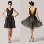 Dignified Sexy Double V-Neck Party Short Evening Cocktail Formal Prom Ball Dress
