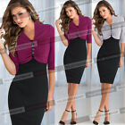 Women Pinup Colorblock Cotton Tunic Work Cocktail Party Bodycon Pencil Dress 912