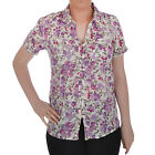 Marks & Spencers Womens Ladies Floral Short Sleeve Buttoned Shirt Blouse Top