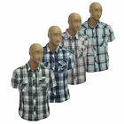 Mens Check Shirt Gent Summer Smart Casual Short Sleeve Cotton Top Size S M L XL