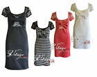 New Womens Bow Front Lace Back Cap/Short Sleeve Bodycon Dress Floral Lace Stripe