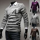 2014 New Fashion Mens Casual Sweaters Printing Crew Neck Pullover fit Youth MJ06