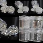 Pure Silver Small Large UV Glitter Powder Dust Sheet Nail Art Decorations 4 Size