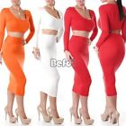 Women's Two Piece Bodycon Crop Top Skirt Party Bandage Midi Pencil Dress Skirt