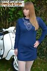 Mod Mini Dress Long Sleeve 60s Blue Red White 1960s Embroidery POP 8 10 12 14