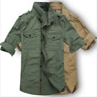Men Tactical Military Casual Shirts Long Sleeve Multi-pockets Army Outdoor Sport