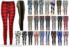 New Women's Full Length Multi Print Leggings Trousers 8-14