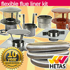 """6"""" Inch 150mm 316 STAINLESS STEEL  FLUE LINER & STOVE FITTING / INSTALLATION KIT"""