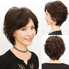 New Elegant Old Women's Lady Short Curly Wavy Full Wig Classic Black Brown Hairs