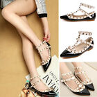 Fashion Women Lady's Punk Point Toe Metal Studded Ankle Strap Flats Causal Shoes