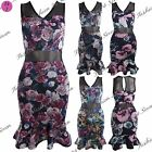 New Womens Ladies V Neck Sleeveless Floral Mesh Party Pencil Bodycon Midi Dress