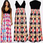 Womens Ladies Sexy Summer Party Bodycon Cocktail V-Neck Long Maxi Evening Dress