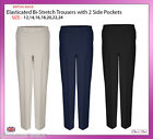 Ladies Women Bi-Stretch Half Elasticated Waist Trousers With Pockets Size 12-24