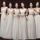 Women Long champagne Wedding Bridesmaid Prom Ball Chiffon Evening Dress Formal