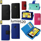 for Nokia Lumia 520 - PU Leather Card Wallet Money Holder Flip Pouch Case Cover