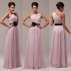 Women Long Chiffon Flower Waist Bridesmaid Party Evening Prom Dress Wedding Gown