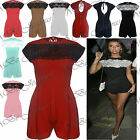 Ladies Playsuit Celeb Cap Sleeve Back Zip Net Flared Lace Top Womens All In One