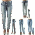 Ladies Womens New Skinny Jeans Frays Ripped Bows Acid Wash