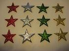 CHRISTMAS COLOURS - LARGE SUGAR ICING GLITTERY CUPCAKE STARS CAKE DECORATIONS
