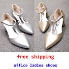 Vogue Ladies T-strap Pointed Toed Pumps Kitten Thick Heel Ballet Single Shoes