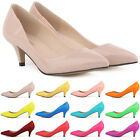 Ladies Girls Low Mid Kitten Heels Shoes PU Patent Leather Pointed Pumps Size 2-9