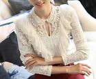 VTG ivory Lace Crochet pearl Victorian Collar long sleeve blouse top S M L (B)