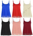 NEW WOMENS PLUS SIZE FLORAL LACE CAMI STRAPPY VEST LADIES LINED STRAPPY TOP 8-22