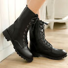 Womens Shoes Combat Ankle Boots Military Motorcycle Mid Calf Flat Heel Lace Up