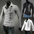New Mens Casual Fashion Letters Printing Long Sleeve Tops POLO Shirts Tee