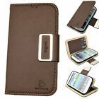 For Galaxy S3 S4 S5 Premium PU Leather Case Flip Cover Skin Pouch Wallet BROWN