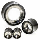 Multiple Sizes 2-Tone Outer Black/Silver Stainless Steel Flesh Tunnels Ear Plugs