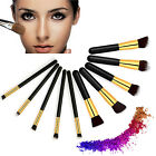 10 x Gold Professional Makeup Set Blending Kabuki Cosmetic Eyeliner BrushesTool