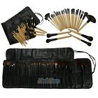 New 32 PCS Makeup Brush Set Cosmetic Brushes Make up Kit + Pouch Bag Wood/Black
