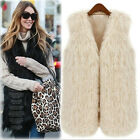 NEW Women's Casual Warm Fluff Splicing Fringed Long Paragraph Vest Fur Coat Top