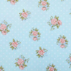 Sky Blue Dotty Spot Floral Roses Wipeclean PVC Vinyl Tablecloth; All sizes