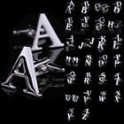 Men's DIY Silver Initials Letters Pure Stainless Business Cufflinks Wedding Gift
