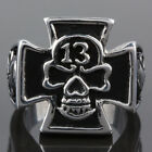 Punk Gothic Stainless Steel Skull Skeleton 13 Heavy Metal Finger Ring Jewelry
