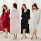 Hot Sexy Women's Slik Blend 2 Pcs Sleepwear Nightdress Elegant Lingerie Pajamas